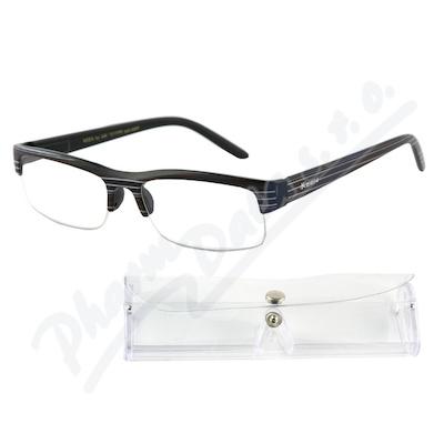 Brýle čtecí +2.50 černé s pruhy a pouzdrem