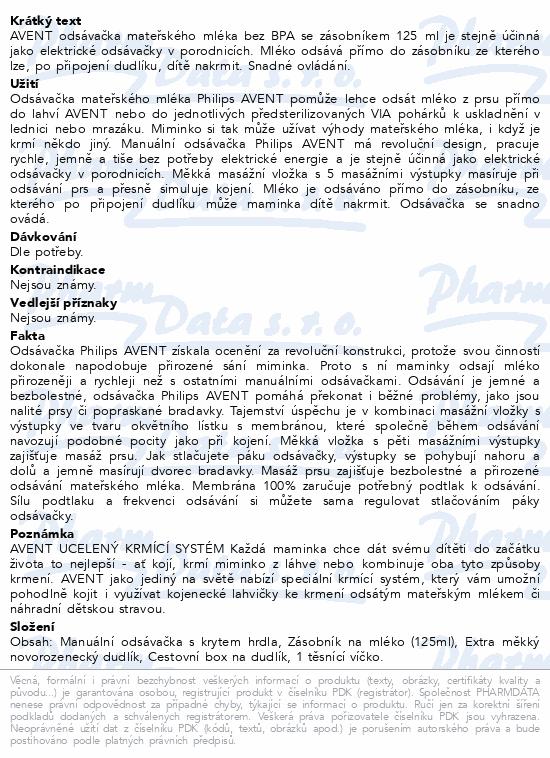 AVENT Odsávačka mat.ml.Natural se zás.125ml PP