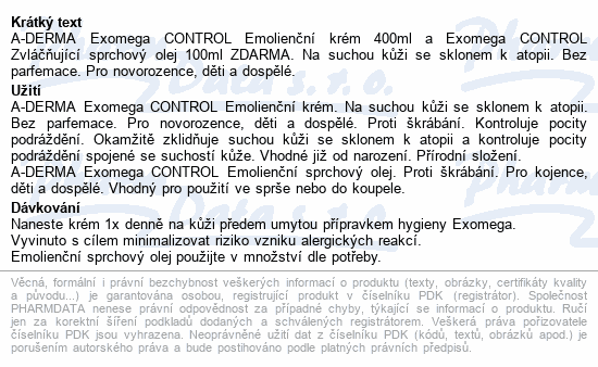 A-DERMA Exomega CONTROL Em.krém 400ml+Sp.olej100ml